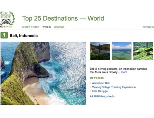 Destinasi Wisata Terbaik Dunia 2017 Versi TripAdvisor Adalah Bali